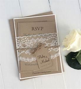 diy rustic wedding invitation kit eco kraft and rustic lace With wedding invitation kits toronto