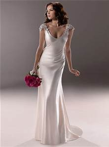 Gorgeous and beautiful satin sheath wedding dresses sang for Satin sheath wedding dress