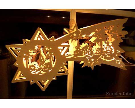 Fensterbilder Weihnachten Erzgebirge beleuchtetes fensterbild sternenschweif erzgebirge 50cm