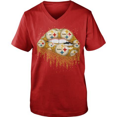 pittsburgh steelers love glitter lips shirt guy  neck