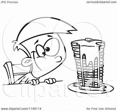 Pancakes Clipart Cartoon Stack Syrup Gazing Boy