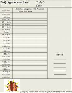 Daily appointment sheet template graphics and templates for Appointment log template