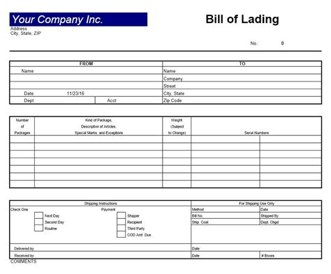 Bill Of Lading Template Bill Of Lading Template Excel Exle Mughals