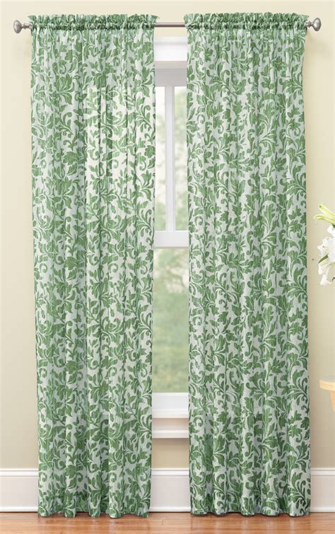 sheer scrolling leaves crinkled curtain panels by