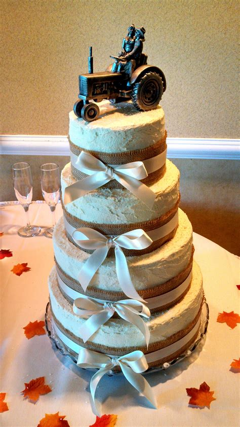 Rustic 4 Tier Wedding Cake And John Deere Grooms Cake