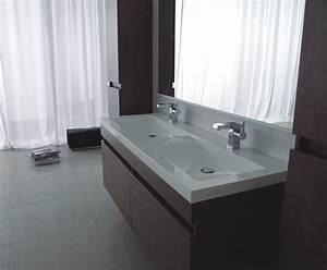 double vasque en verre plan vasque en verre tremp aquabi With salle de bain design avec double vasque en verre