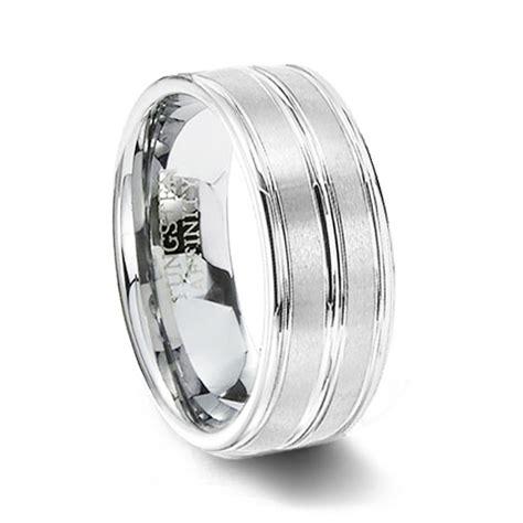 Polished & Brushed White Tungsten Wedding Band  Tungsten