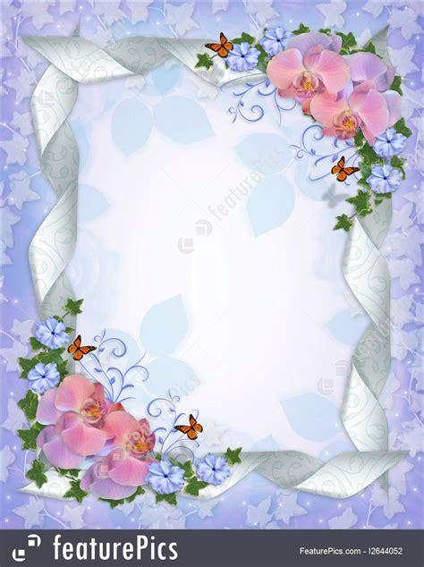 templates wedding invitation border orchids stock