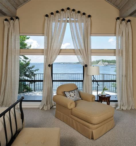 Curtain Rods Angled Windows with Traditional Bedroom Deck