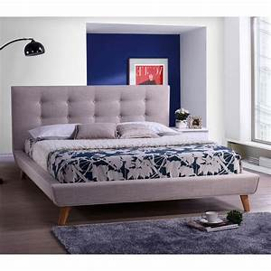 King, Modern, Beige, Linen, Upholstered, Platform, Bed, With, Button, Tufted, Headboard