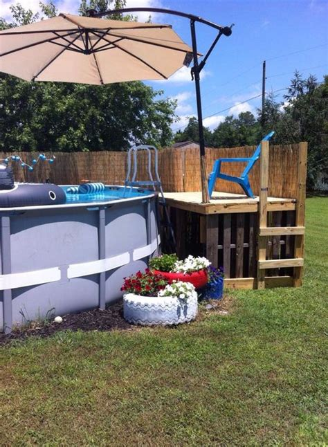 pallet pool pool decks  umbrellas  pinterest