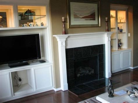 built  bookcase  tv   fireplace openhaard