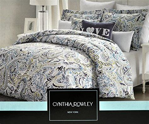 Cynthia Rowley Paisley Bedding by Cynthia Rowley Navy Blue Aqua Paisley Green King Duvet