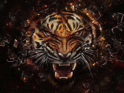 3d Effect Wallpaper Hd by 3d Tiger With Glass Breaking Effect Hd 3d And Abstract