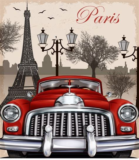 retro arabali seyahat posterleri dekupaj desenleri vintage car with travel poster vector set 03 and Vintage