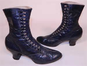 womens boots navy blue vintage antique womens navy blue leather high top button boots shoes ebay