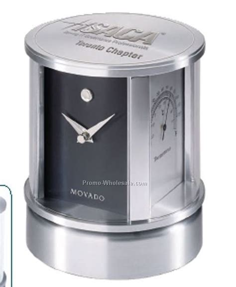 Movado Rotating Desk Clock by Movado Museum Clock Thermometer Photo Frame
