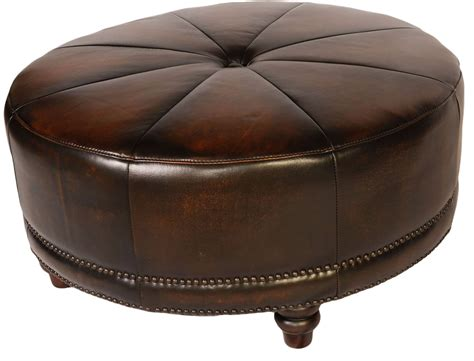 round black leather ottoman cindy black tan leather round ottoman from lazzaro wh