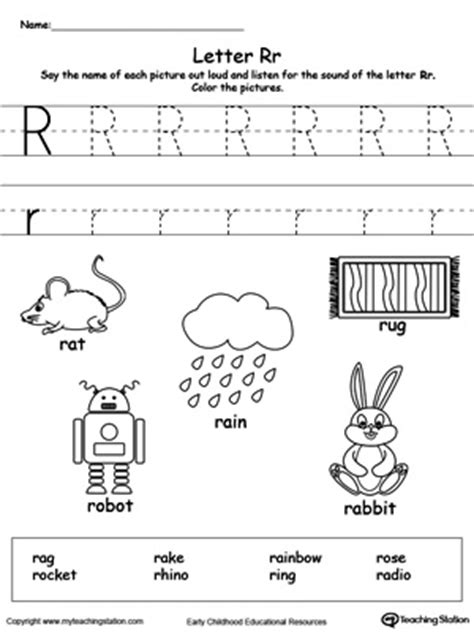 kindergarten printable worksheets myteachingstation 146 | Words Starting With Letter R