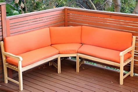 outdoor teak sectional bench  sunbrella cushions