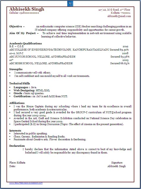 Resume Models For Freshers Cse by Resume Co Bachelor Of Computer Science Engineer B E Cs Fresher One Page Resume Sle