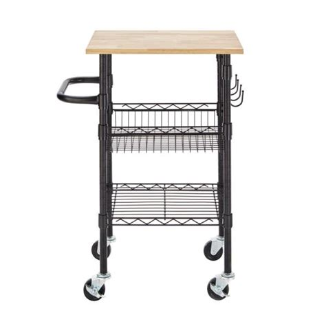 stylewell gatefield black small kitchen cart  rubber