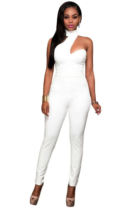 white jumpsuits for white choker open back jumpsuit charming wear