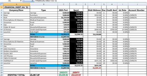 accounting  bookkeeping excel spreadsheet template