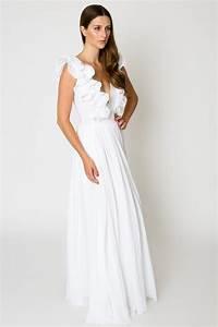 ruffle white maxi dress cotton wedding dress With maxi wedding dress