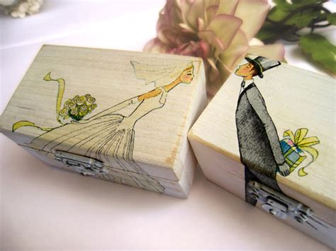 personalized white wedding ring bearer box wooden box gift
