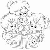 Coloring Grandma Pages Reading Grandparents Grandchildren Kolorowanki Illustration Printable Grandmother Grandmas Fun Vector Mom Books Cartoon Activities 30seconds Occ 123rf sketch template
