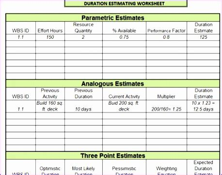 effort estimation template excel exceltemplates