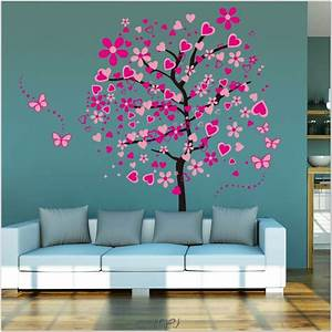 interior tree wall painting teen girl room decor kids With teenage girl wall decals ideas