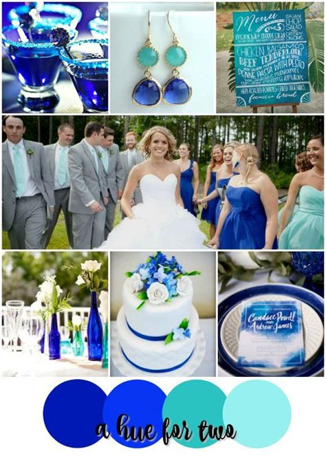 blue wedding color schemes cobalt and aqua shades of blue wedding color scheme
