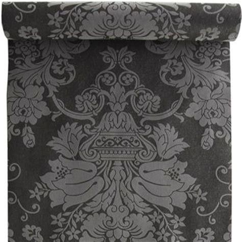 papier peint 100 intiss 233 baroque paillette noir leroy