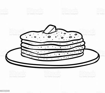 Pancakes Coloring Illustration Pastry Baked Vector Occupation