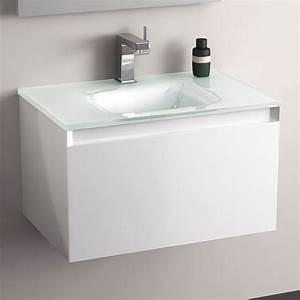 meuble salle de bain blanc 60 cm tiroir plan verre glass With meuble salle de bain plan verre