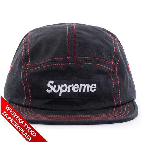 supreme cap supreme 5 panel contrast stitch c cap black caps 5