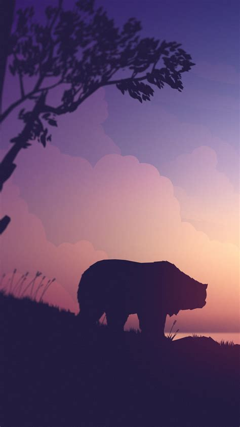 wallpaper sunset bear deer  art