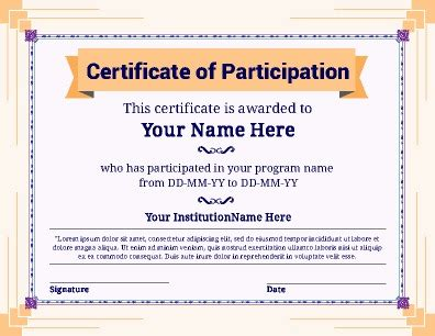 certificate of participation template certificate of participation templates pageprodigy print for 1