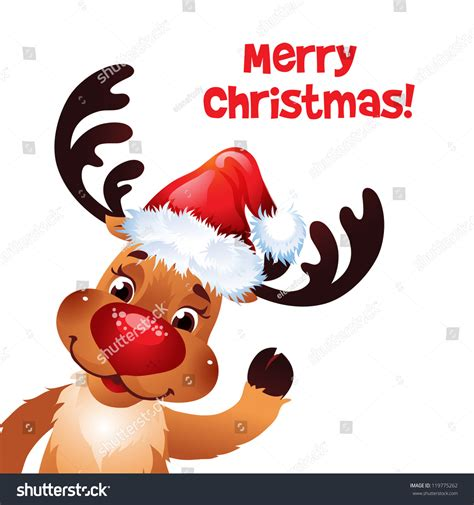 red nose christmas reindeer nose and santa hat stock vector illustration 119775262