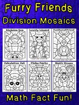 furry friends division mosaics  images math fact fun tpt