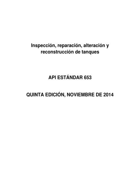 API 653 Español | Tanks | Reliability Engineering