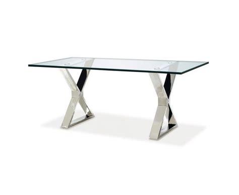 table bureau en verre table de repas rectangulaire en verre et acier sur deco and me