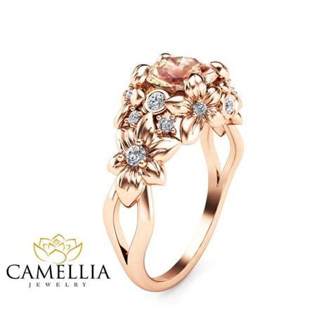 floral design morganite engagement ring 14k gold