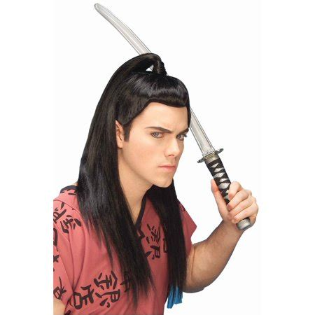 samurai wig warrior chinese japenese ninja black ponytail