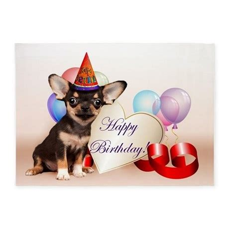 happy birthday chihuahua dog xarea rug  ritmoboxers