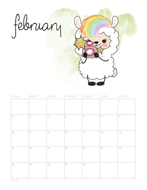printable  kawaii llama calendar  cottage market