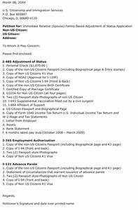 adjustment of status cover letter the letter sample With i 485 package cover letter