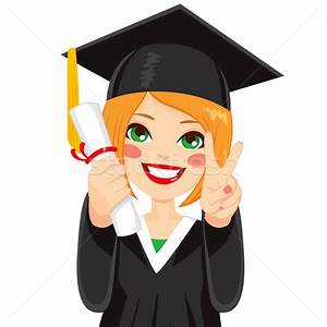 Red Haired Graduation Girl vector illustration © Kakigori ...